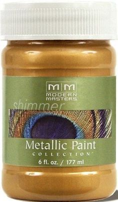 Modern Masters Metallic Pale Gold, This product is a household paint solvents For best results use Modern Masters extender for rolling Contains real metal particles, pearlescent Pigments and traditional Pigments Gold Painted Walls, Gold Painted Furniture, Gold Walls, Metallic Paint Colors, Feuille D'or, Gold Leaf Art, Glaze Paint, Modern Masters, Secrets Revealed