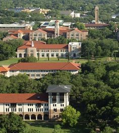 Rice University Owls. An aerial view of part of the campus shows Rice's red clay-tile roofs, a common feature on many of the university's buildings.