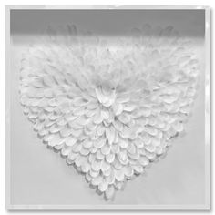 Feather Heart Framed Print in White, Oliver Gal