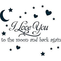 I Love You to The Moon and Back Again Wall Sayings Vinyl Art Decal Quote Sticker Home Decal (Glossy Black)