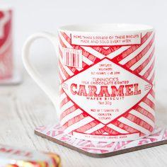 Gillian Kyle - Tunnock's Caramel Wrapper Mug Chocolate Coating, Make And Sell, Caramel, Branding Design, Tea, Mugs, Coffee, Tableware, Kitchens