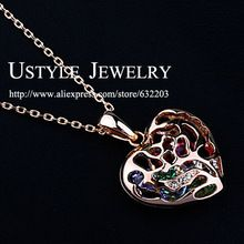 USTYLE JEWELRY Colorful Zircons rolling in the Heart! Fine 18K Rose Gold Plated Heart Locket Pendant Necklace FREE SHIPPING