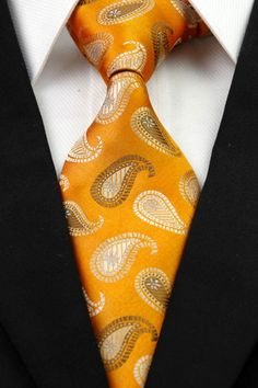 BNT0298 Gold Yellow Pattern Classic JACQUARD Woven Silk Necktie Men's Tie
