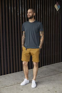 Coldsmoke Trail Short Mustard Extra Large is part of Summer shorts outfits - Inseam 10 The model is 165 lbs wearing size medium Summer Shorts Outfits, Cool Summer Outfits, Short Outfits, Stylish Mens Outfits, Casual Outfits, Casual Wear, Vans Outfit Men, Street Style Summer, Mens Clothing Styles
