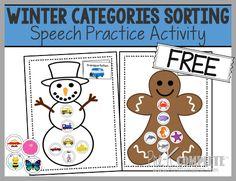 Winter Categories Sorting for Speech Practice / Speech Intervention - Free Printable!
