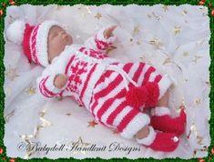 'Santa's Little Helper' Outfit 10-16 inch doll-knitting pattern, doll, christmas, elf