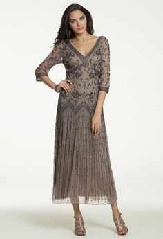 Beaded 3/4 Sleeve Tea Length Dress from Camille La Vie and Group USA