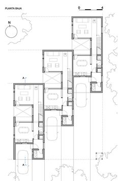 architecture - Gallery of CLF Houses / Estudio BaBO - 16 Layouts Casa, House Layouts, Architecture Plan, Residential Architecture, The Plan, How To Plan, Townhouse Designs, Narrow House, Duplex House
