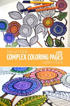 Free Printable Adult Coloring Pages – Modern Floral by Katie Smith - Download these free printable adult coloring pages in a cool, artsy flower theme! These free complex coloring pages are hand drawn and so relaxing to color in.
