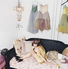 Sarah Sophie Flicker in her boudoir #dressing_room #fashion_as_decor