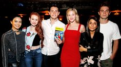 "Camila Mendes, Madelaine Petsch, Casey Cott, Lili Reinhart, Marisol Nichols & KJ Apa visit Broadway's ""Bandstand"" on May 19, 2017."
