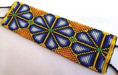 Mexican Huichol Loom Beaded Peyote Bracelet by Aramara on Etsy Peyote Beading, Loom Bracelets, Beaded Bracelet, Bead Loom Patterns, Peyote Patterns, Weaving Patterns, Loom Bands, Bracelets, Seed Beads