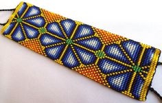 Mexican Huichol Loom Beaded Peyote Bracelet by Aramara on Etsy