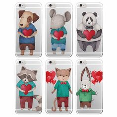Hearts Animals Phone Case For iPhone
