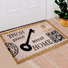Natural Coir Door Mats with Attractive Printed Designs to Welcome your Guests. The tough hardwearing Coir Brush Surfaces keeps the dirt away from your home. Mats are available in rectangular, half, round, oval and oblong shapes in all regular sizes. Ideal for covered entranceways and patios. Coir surface with Anti slip backing. Made from natural coconut fibers called coir. Natural coconut fibers enhance beauty and offer superior cleaning performance. Material: Coir Coir Doormat, Door Mats, Welcome Mats, Fiber, Coconut, Surface, Shapes, Cleaning, Printed