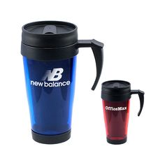 Travel Mug Fourteen ounce basic acrylic double insulated travel mug with black plastic screw-on top, sipping slider lid and gripping handle. Fits most automobile cup holders