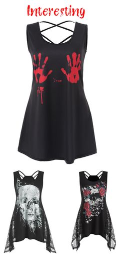 Skull Flower Lace Insert Asymmetrical Tank Top. Free Shipping on orders over $45. Enjoy 20% off with code DLPIN6: $8+ off $40+, $12+ off $60+, $16+ off $80+… Pinterest exclusive discount. #dresslily #tanktops #tops #halloween