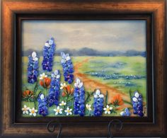 $325 Art Glass Painting Blue Bonnets by CDChilds on Etsy
