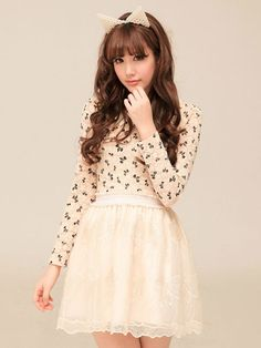 Mango Doll - Bow Print Lace Shirt, $38.00 (http://www.mangodoll.com/all-items/bow-print-lace-shirt/)