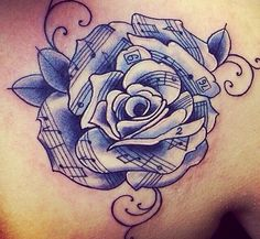 Music note rose/flower tattoo