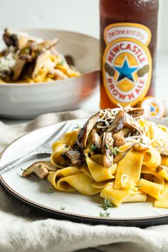 SHIITAKE MUSHROOM PASTA WITH A NEWCASTLE BROWN ALE SAUCE
