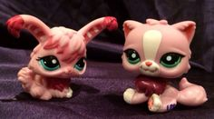 Littlest Pet Shop Pink Persian Cat & Angora Bunny Rabbit LPS # 2132, 2138 valentines day present for child