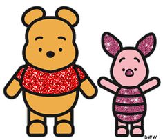 Glitter Pooh Bear and Piglet