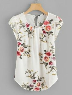SheIn offers Petal Sleeve Florals Blouse & more to fit your fashionable needs. Plus Floral Print Cut Out Blouse -SheIn(Sheinside) Flower Print Keyhole Back Curved Hem Blouse -SheIn(Sheinside) Floral Asymmetrical Elegant Summer Blouse Women's Work Tops fo Floral Tops, Ditsy Floral, Floral Chiffon, Floral Lace, Diy Kleidung, Petal Sleeve, Tulip Sleeve, Ruffle Sleeve, Pleated Fabric