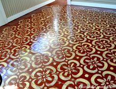 love this stenciled floor!! maybe to replace the rug that everyone trips on?