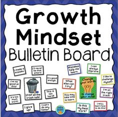 This is a set of posters for a growth mindset bulletin board display. Includes two full-page posters and 16 quarter-page sayings. The display includes examples of negative thinking along with contrasting growth mindset thoughts to guide students to think for