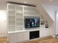 Bespoke media furniture custom made to house all types of audio visual equipment. Living Room Cupboards, Kitchen Wall Units, Living Room Built Ins, Bookshelves In Living Room, Open Space Living, Bookcase Wall Unit, Wall Shelving Units, Built In Bookcase, Feature Wall Living Room