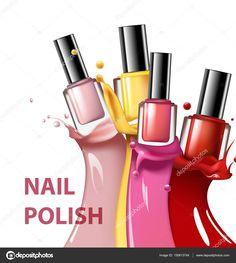 Красочные ногтей лак, лак брызги на белом фоне, 3d иллюстрации, vogue объявлений Дизайн Косметика и моды фон шаблона вектор — стоковая иллюстрация #150613744