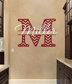 Wall Decal  Personalized Chevron Monogram  by FourPeasinaPodVinyl, $30.00