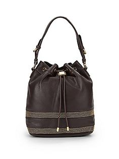 7ebcfe9dc33c Badgley Mischka - Penny Leather Studded Convertible Bucket Bag
