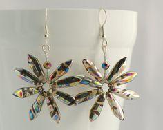 Silver Daisy Earrings Funky Fun Jewellery Rainbow Boho