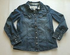 HUGE LABOR DAY SALE!  Mossimo Girls Blue Denim Long Sleeve Shirt Size Large 10-12 Pearl Snaps #129