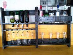Bar e porta copos de pallet