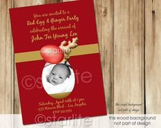 Red Egg and Ginger Party Invitation - Style 3 Photo invitation - Baby Boy or Girl - Chinese birth announcement - Red Gold Tones -