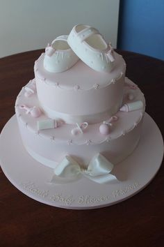 Pale Pink Girly Baby Shower Cake ~ all edible