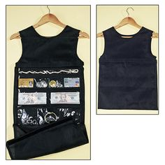 """Hanging Closet Safe -Keep Valuables Hidden In Your Closet. Clever """"safe"""" looks like a woman's tank top, but unzips to reveal 9 clear zippered pockets"""