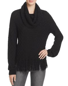 Ella Moss Cowl Neck Fringe-Hem Sweater