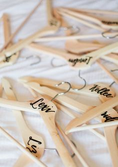 Hand Lettering on Bridesmaid Hangers, Peachtree House Estate Wedding | Debra Eby Photography Co.