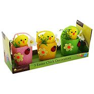 Easter Chick Decorations - Set Of 3