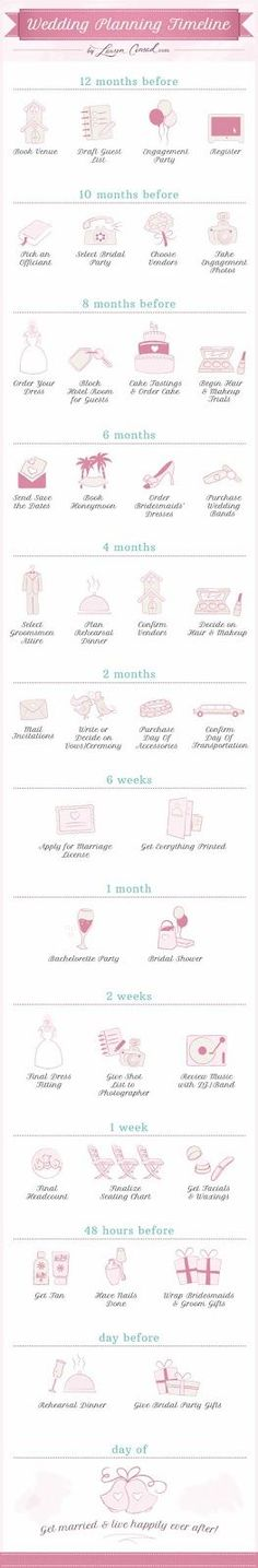 Wedding Timeline. When you get engaged can determine when you get married… Fall, Winter, Spring, or Summer wedding?? -repinned from California wedding minister https://OfficiantGuy.com