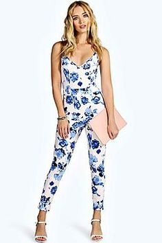 Boohoo: Lucy Strappy Stretch Crepe Floral Jumpsuit