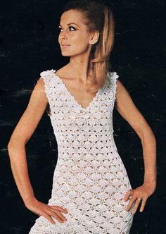 Vintage Crochet Dress Pattern V Neck with by HeirloomPatterns