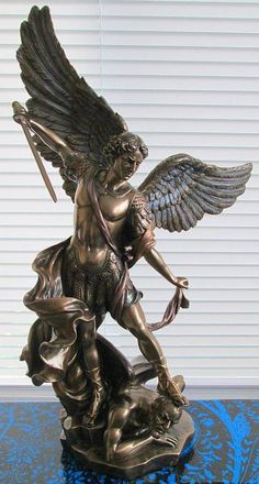 Archangel St Micheal Slaying the Devil Statue Saint Michael Statue, St Michael Tattoo, Archangel Tattoo, St Micheal, Sculpture Art, Sculptures, Kunst Online, Angel Warrior, Mont Saint Michel