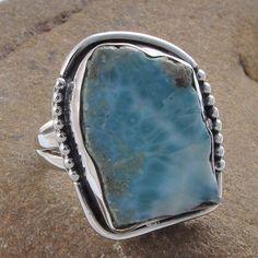 925 STERLING SILVER LARIMAR SLICE GEMSTONE RING 9.57g R01277 #Handmade #RING
