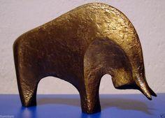 Original Art, Artist Signed Bull Sculpture from Europe (Animals, Metal)