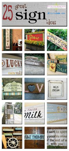 DIY - 25 Great Sign Ideas, Hometalk Clipboard - Wow, there are some awesome DIY Sign ideas shared here on Hometalk. I curated a clipboard of 25 of my favorites…